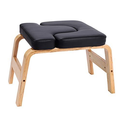 Taburete de yoga con soporte para la cabeza, asiento seguro, silla de entrenamiento, asiento de madera y poliuretano, para hacer deporte, para gimnasia, gimnasio familiar, alivia la fatiga