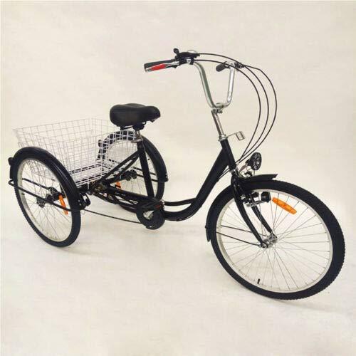 Triciclo para adultos de 24 pulgadas, 6 velocidades, 3 ruedas, negro, con cesta,...