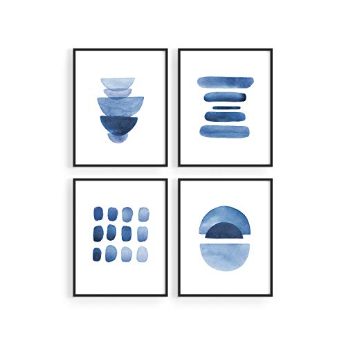 Abstract Blue Wall Art Prints - by Haus and Hues | Set of 4 Abstract Art Blue Wall Decor for Living Room Wall Art | Watercolor Prints Wall Art | Navy Blue Wall Art | (8'x10' UNFRAMED)