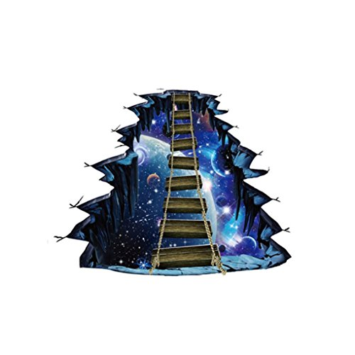 Spritumn Removable 3D Bridge Star Series Floor Sticker Vinyl Universe Galaxy Wall Decals Ceiling Floor Tile Stickers for Kids Room Living Room Bathroom Toilet Background