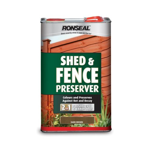 Ronseal SFWPDB5L Shed & Fence Wood Preservative Dark Brown 5 Litre