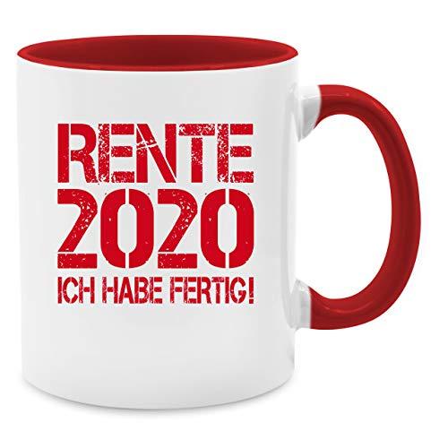 Tasse Berufe - Rente 2020 - Ich habe fertig! - Unisize - Rot - renteneintritt geschenk frau - Q9061 - Kaffee-Tasse inkl. Geschenk-Verpackung
