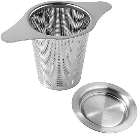Tea Infuser Tea Strainer Stainless Steel Fine Mesh Filter with Lid Double Handles for Hanging product image