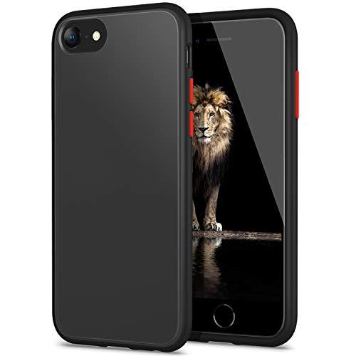 YATWIN Funda para iPhone SE 2020, Funda iPhone 8, Funda iPhone 7 Transparente Mate Case, [Shockproof Style] Botones Coloridos, Carcasa Protectora para iPhone SE 2020 / iPhone 7/8 4.7''-Negro C