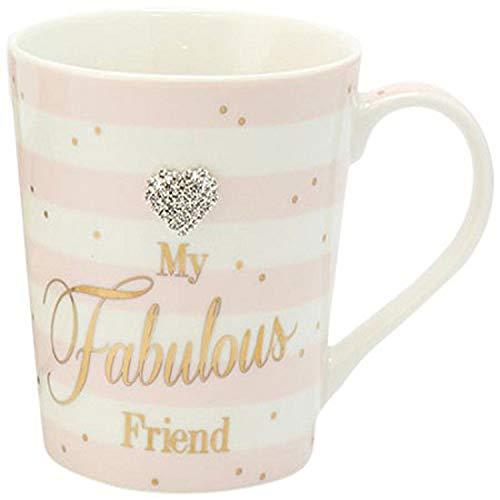 """Lesser & Pavey - Tazza con scritta in inglese """"My fabulous friend"""", decorata con puntini, idea regalo, Ceramica, Rosa/bianco., taglia unica"""