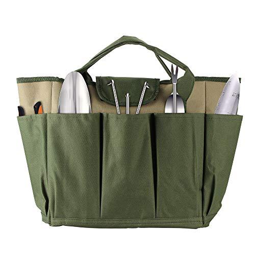 OurLeeme Sac fourre-tout de jardin, sac de rangement pour organisateur sac à outils en tissu Oxford pour sac à outils de jardinage (Vert Profond)