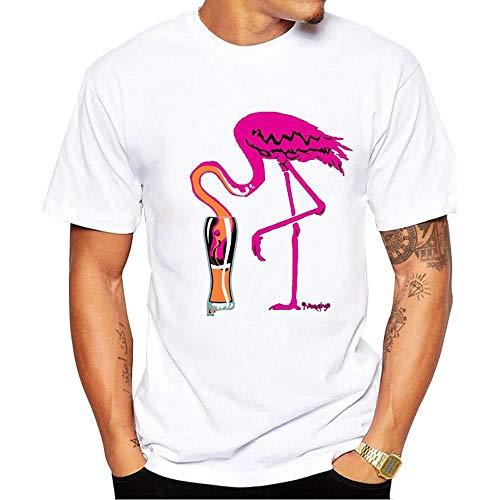 Camiseta estampada elástica con flamencos frescos y cómodos para el hogar, ocio, versión convencional, de tamaño grande, para hombre, manga corta y cuello redondo Poliéster -22.806. XL