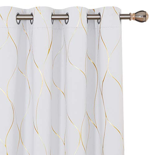 Deconovo White Blackout Curtains 84 inches Long - Gold Wave Foil Print Grommet Drapes, Room Darkening Curtain, Window Panels for Living Room (52W x 84L Inch, Set of 2, Greyish White)