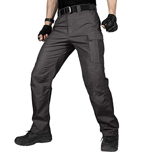 FREE SOLDIER Men's Water Resistant Pants Relaxed Fit Tactical Combat Army Cargo Work Pants with Multi Pocket (Gray 36W/32L)