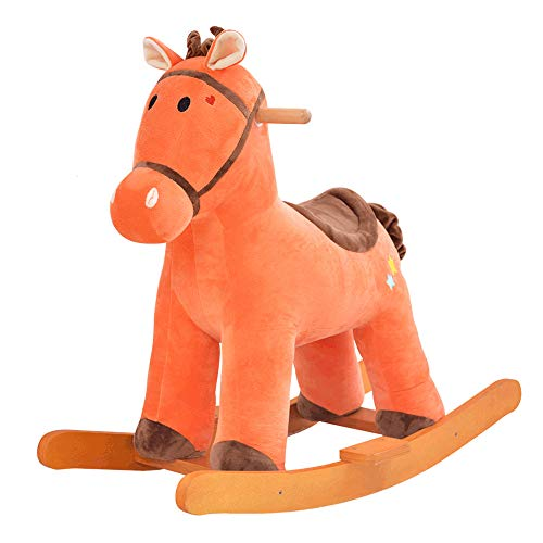 BAIDEFENG Baby Rocking Horse, Wooden Plush Toy Rocking Horse Children's Rocker Animal Rocker Seat Toy for 1-6 Years Boys and Girls