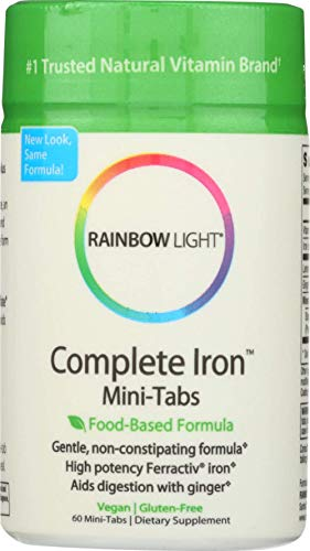 Rainbow Light - Complete Iron Mini-Tabs, Gently Encourages Healthy Iron Levels by Promoting Iron Absorption with Ferractiv Iron, Vitamin C and Ginger, Vegan, Gluten-Free, Non-Constipating, 60 Tablets