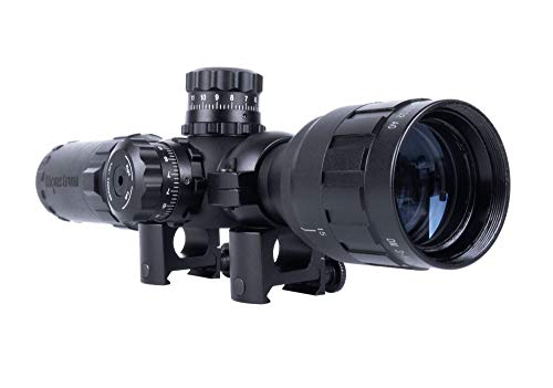 Monstrum 3-9x32 AO Rifle Scope with Illuminated Range Finder Reticle and High Profile Scope Rings | Black