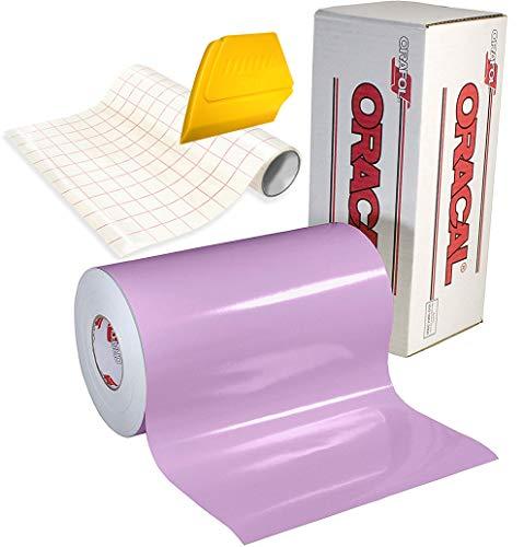 ORACAL 651 Vinyl-Klebefolie, selbstklebend, 4,5 x 0,3 m, Rolle mit Transferpapier und hartem gelben Detailer-Rakel (lila)