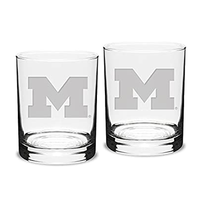 University Glass NCAA Michigan Wolverines Double Old Fashioned Glasses, 14 Ounce (2-Pack) Deep-Etched Engraved, Officially Licensed Clear Whiskey Glasses for Adults
