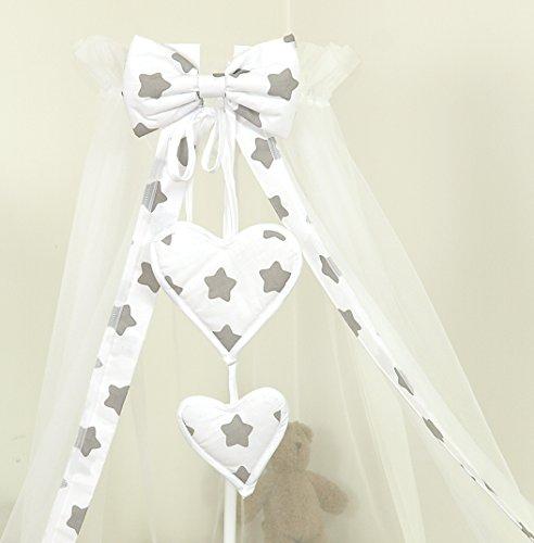Ciel de lit/Baldaquin/ 230 x150cm + Support Flèche de lit (Grey Stars Gris Blanc Grandes Etoiles)