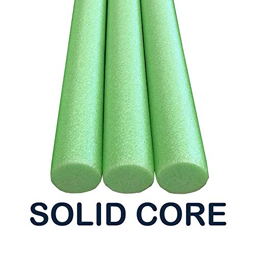 Oodles Solid Core Deluxe Foam Pool Swim Noodles 3 Pack 55 Inch Length Lime Green