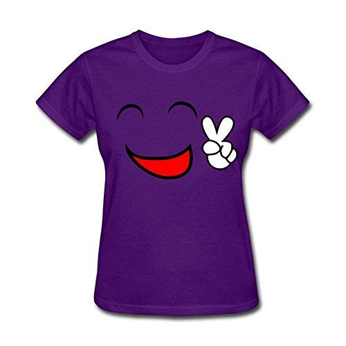 Diseño para mujer Happy paz cara sonriente T camiseta de manga corta Tops