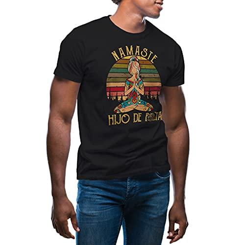 GR8Shop Yoga Namaste Hijo De Puta Meditation Camiseta de Hombre Negra Size M