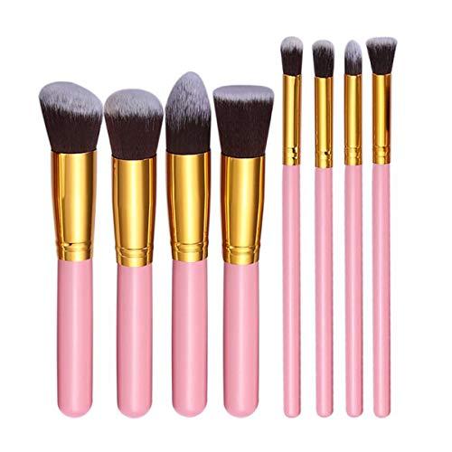 SNUIX Pinceau de maquillage Set Nylon Bristle cosmétiques outil for fard à paupières Eye-Liner Sourcil fard à joues Pinceau fond de teint, 8Pcs (Couleur : Pink N Gold, Size : One Size)