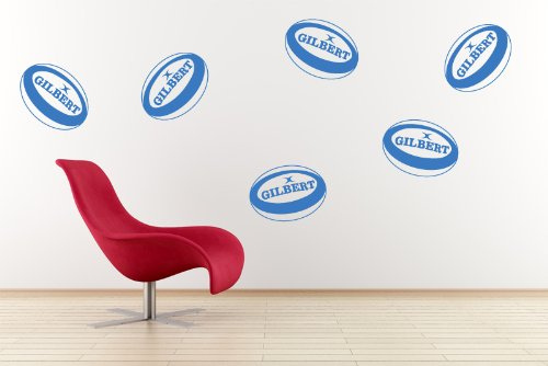 Vinyl Concept - Wall Stickers, Kids, Rugby , Rugby Balls X 6 Removable, Easy To Remove, Children'S Wall Stickers, Art Mural, Art Decor, Sticker Diy Deco : Red -- Small by Vinyl Concept
