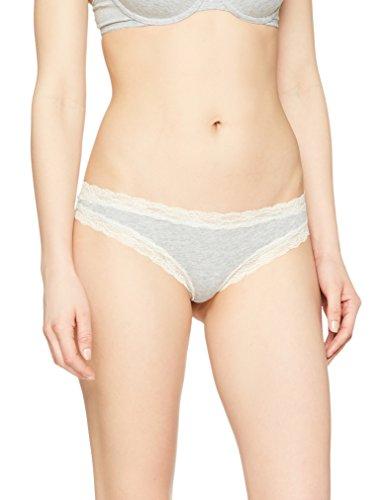 Amazon-Marke: Iris & Lilly Tanga Damen Baumwolle mit Spitze, 5er Pack, Grau (Melange), 36 (Herstellergröße:S)