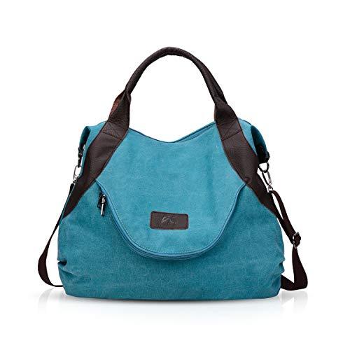 NICOLE & DORIS Damen Canvas Handtasche Segeltuch Taschen Schultertasche Damen Henkeltasche Hobo Tasche Umhängetasche Blau