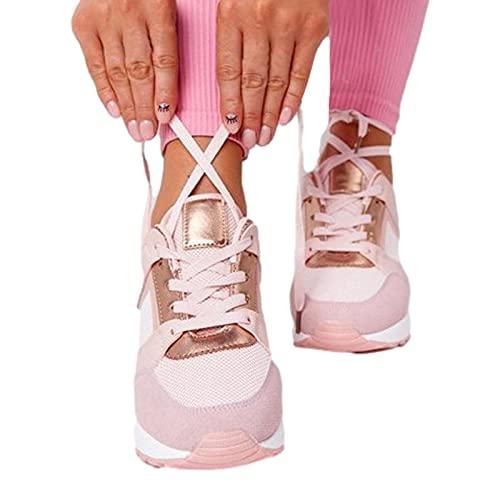 QBAMTX Zapatillas De Mujer De Tacón Alto con Cuña Zapatillas Deportivas para Correr Casuales Zapatos De...
