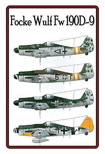 Focke Wulf Fw 190D-9 Vliegtuigmodellen metalen bord bord gebogen metalen teken 20 x 30 cm