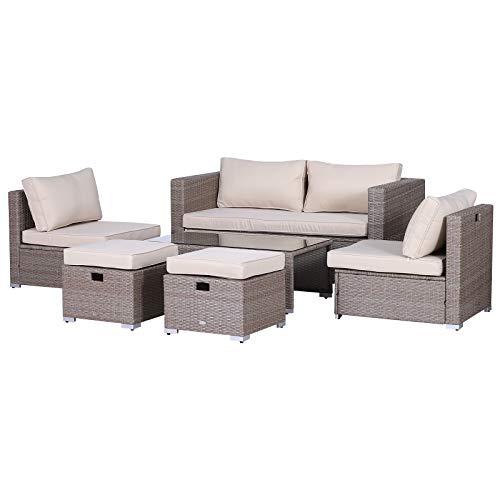 Outsunny Rattan Sitzgarnitur, 6-teilige Sitzgruppe, Gartenmöbelset mit Couchtisch, Metall, Khaki, 151 x 75 x 65 cm