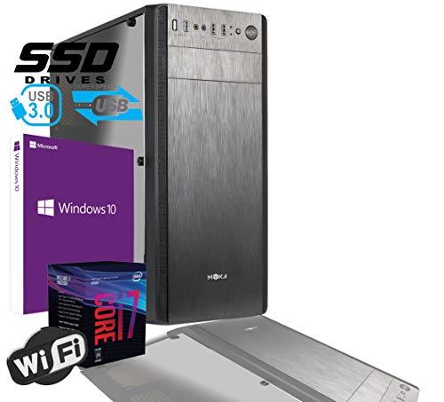 PC DESKTOP OFFICE INTEL I7 8th Gen SIX CORE i7-8700 da 3,2 a 4,6GHz MB H310M HDMI DVI RAM 16GB DDR4 HD SSD 480GB GRAFICA UHD 4K WIFI 300MB CASE USB 3.0 LICENZA WINDOWS 10 PRO,PC ASSEMBLATO,PC FISSO