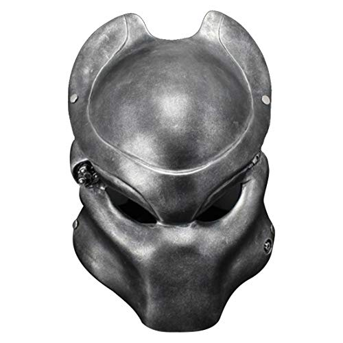 Wolf Predator Helmet Alien Hunter Resin Mask Replica Cosplay Halloween Props Silver