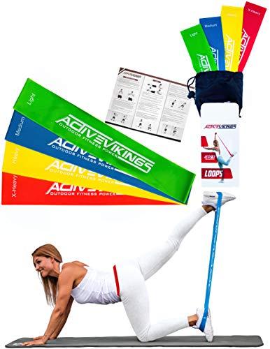 ActiveVikings Fitnessbänder Set 4-Stärken - Ideal für den Muskelaufbau Gymnastik und Crossfit - Fitnessband Gymnastikband Widerstandsbänder für Physiotherapie Pilates Yoga