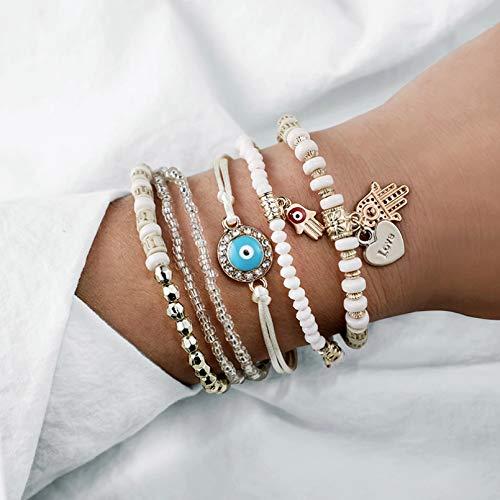 KUANGLANG Ethnic Hand Heart Eye Adjustable Pendant Layered Bracelets Set Women Beads String Bracelet Bangle Anklets