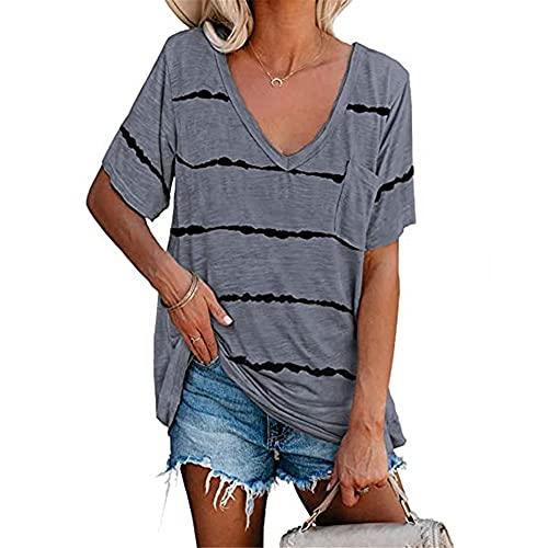 Blusa Mujer Verano Escote En V Profundo Rayas Sexis Bolsillos Estampados Decoración Mujer Camisa Temperamento Informal Clásico Transpirable Elasticidad Suave Mujer Tops B-Grey 3XL