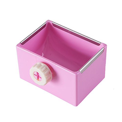 ZOOPOLR Cage Feeder Food & Water Hay Bowl Dish Bin Feeder, Small Animal Supplies for Rabbit Guinea Pig Chinchilla Hamster Ferret (Pink)
