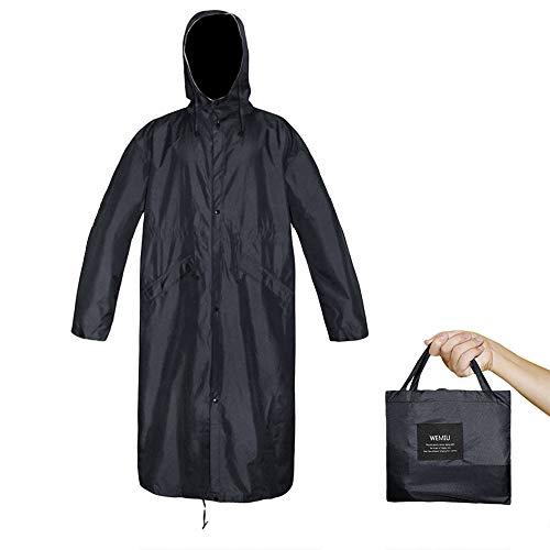 Long Raincoat for Men Women Waterproof Breathable Rain Poncho Lightweight Rain Jacket 340g (Black, Large)
