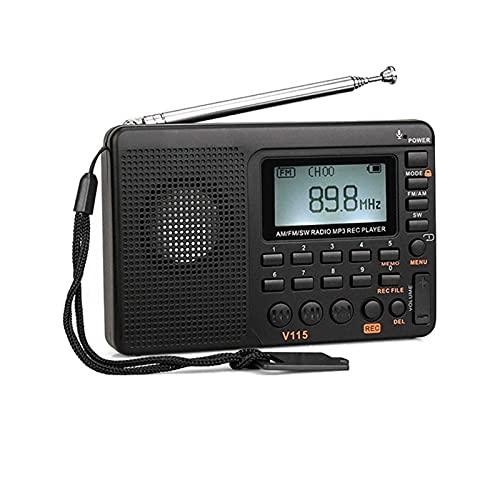 Radio de bolsillo, Am Fm Sw de onda corta Fm Receptor de transistor de altavoz Tf Card Usb Rec Recorder Tiempo de sueño, adecuado para escuchar la radio y reproducir música (Negro)