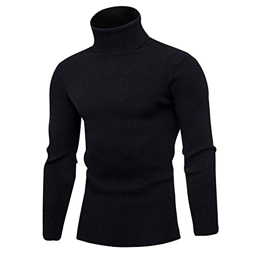 Mens Ribbed Slim Fit Long Sleeve Knitted Pullover Top Turtleneck Thermal Sweater(Black,Medium)