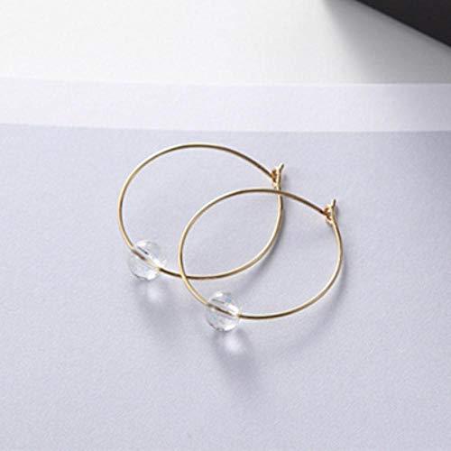 KFYU Gota de Agua Pendientes de Perlas Pieza de Hierro Círculo geométrico Pendientes de botón de Cristal