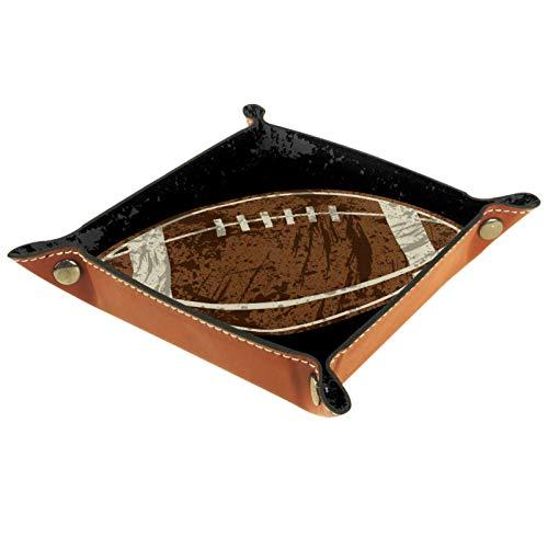 KAMEARI Bandeja de cuero vintage para monedas, diseño de balón de fútbol y fútbol, estilo vintage, para guardar monedas, relojes, llaves, monedas