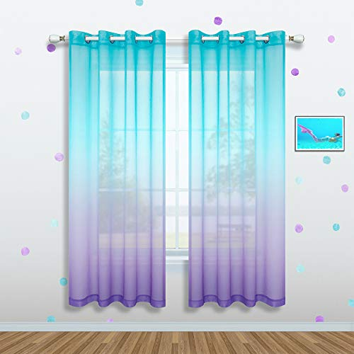 Girls Curtains for Bedroom Decor Single Curtain Panel Grommet Window Sheer Drapes Pastel Teal Purple Ombre Curtains for Kids Room Teen Princess Decorations Set Lilac Turquoise 52 x 72 Inch Length