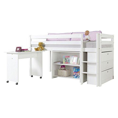 Relita Halbhohes Spielbett Alex mit Beimöbel-Set, Buche massiv, weiß lackiert