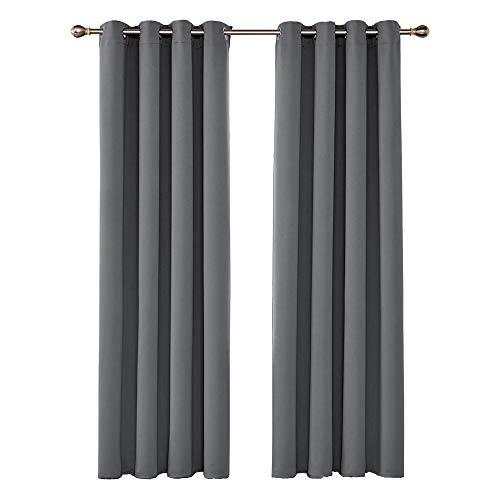 UMI. by Amazon 2 Schals Verdunkelungsgardinen mit Ösen Vorhang Blickdicht 140x290 cm Grau