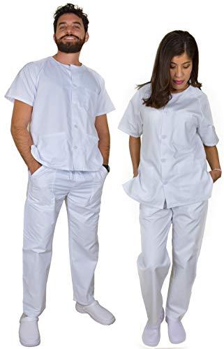 BeBright Uniformes Sanitarios Mujer y Hombre, Pijama Sanitario Blanco, Revisar Cuadro de Medidas (M)