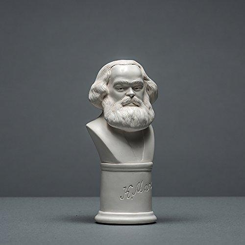 Karl Marx Skulptur aus hochwertigem Zellan | echte Handarbeit Made in Germany | Büste, Figur | Geschenkidee in weiß | 13cm