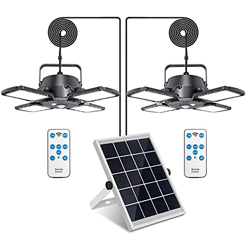 Solar Pendant Lights Outdoor Indoor,Aqonsie 1000LM Double Head Solar Powered Shed Lights,120° Adjustable Solar Motion Sensor Light with Remote & 4 Lighting Modes for Shed Gazebo Home Barn Chicken Coop