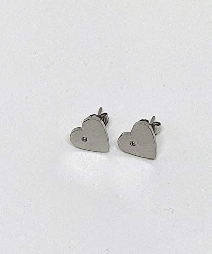 Pendientes de acero inoxidable de lóbulo en forma de corazón con punto de luz (JYO0001)