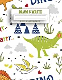 Draw & Write Journal: Writing and drawing story paper, Learn To Write and Draw Journal, Great Gift for Kids ( Dinosaurs V.2 )
