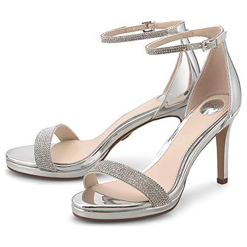 Buffalo Damen High-Heel-Sandalette Monroe Silber Synthetik 38