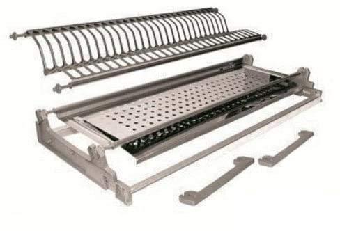 Escurreplatos con integrado con casquillo de muelles de 56ml acero inoxidable con marco Made in Italy